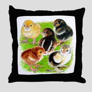Five Chicks Throw Pillow