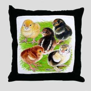 Five Chicks Throw Pillow