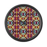 Retro Fractal Art Pattern Large Wall Clock