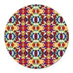 Retro Fractal Art Pattern Round Car Magnet
