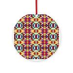 Retro Fractal Art Pattern Ornament (Round)