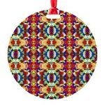 Retro Fractal Art Pattern Round Ornament