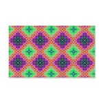 Green Pink and Purple Checkered Pattern 20x12 Wall
