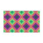 Green Pink and Purple Checkered Pattern 35x21 Wall