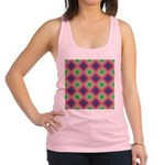Green Pink and Purple Checkered Pattern Racerback