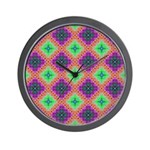 Green Pink and Purple Checkered Pattern Wall Clock