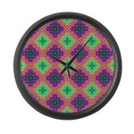 Green Pink and Purple Checkered Pattern Large Wall