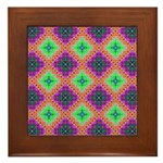 Green Pink and Purple Checkered Pattern Framed Til