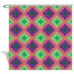 Green Pink and Purple Checkered Pattern Shower Cur