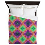Green Pink and Purple Checkered Pattern Queen Duve