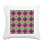 Green Pink and Purple Checkered Pattern Square Can