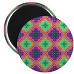 Green Pink and Purple Checkered Pattern Magnet