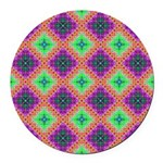 Green Pink and Purple Checkered Pattern Round Car