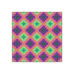 Green Pink and Purple Checkered Pattern Square Sti