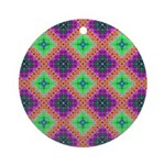 Green Pink and Purple Checkered Pattern Ornament (