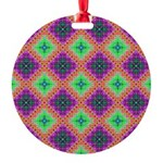 Green Pink and Purple Checkered Pattern Round Orna