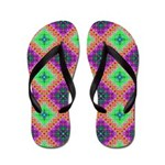 Green Pink and Purple Checkered Pattern Flip Flops