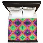 Green Pink and Purple Checkered Pattern King Duvet