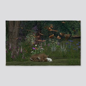 Fawn and Rabbit Area Rug