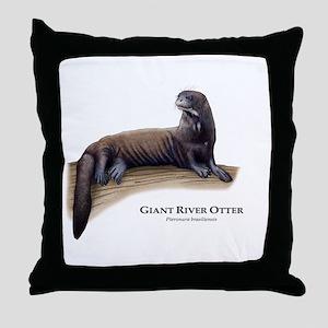 Giant River Otter Throw Pillow