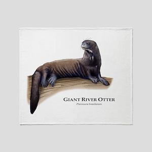 Giant River Otter Throw Blanket