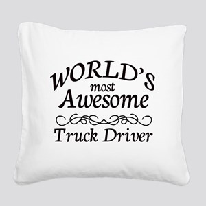 Truck Driver Square Canvas Pillow