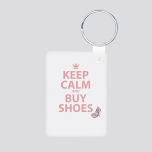 Keep Calm and Buy Shoes Aluminum Photo Keychain