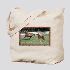 Mare and foal framed Tote Bag