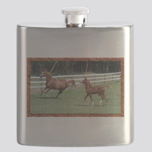 Mare and foal framed Flask