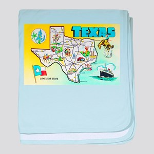 Texas Map Greetings baby blanket