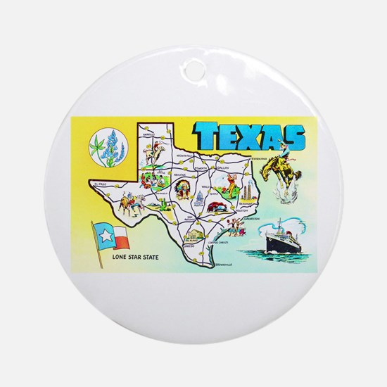 Texas Map Greetings Ornament (Round)
