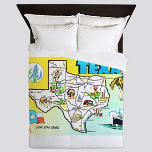 Texas Map Greetings Queen Duvet
