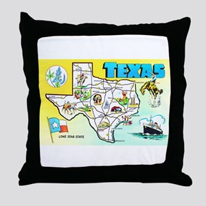 Texas Map Greetings Throw Pillow