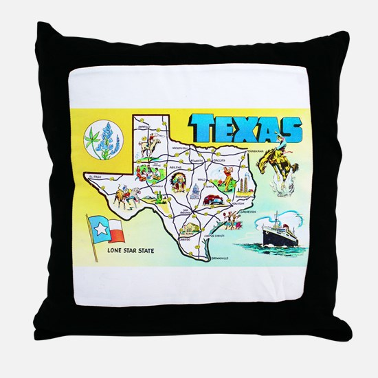 Texas Map Greetings Throw Pillow