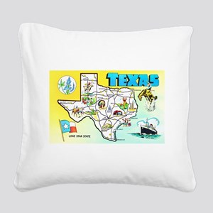 Texas Map Greetings Square Canvas Pillow