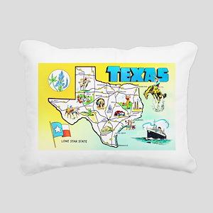 Texas Map Greetings Rectangular Canvas Pillow