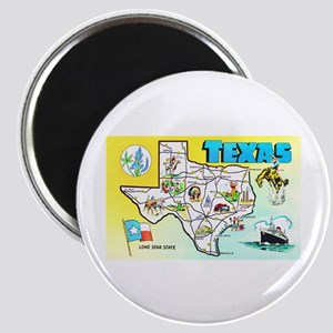 Texas Map Greetings Magnet