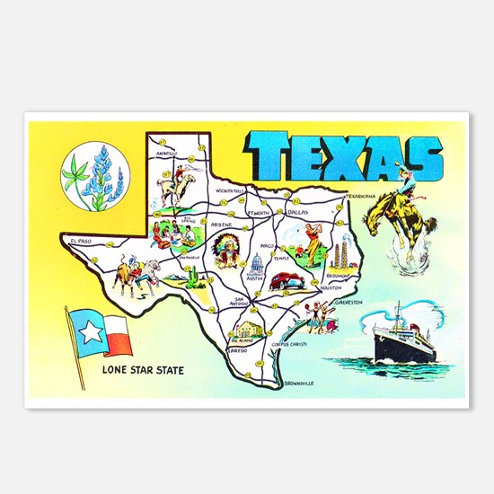 Texas Map Greetings Postcards (Package of 8)