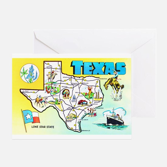 Texas Map Greetings Greeting Card