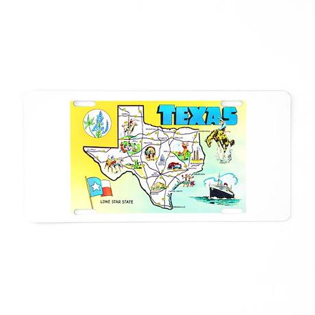 Texas Map Greetings Aluminum License Plate