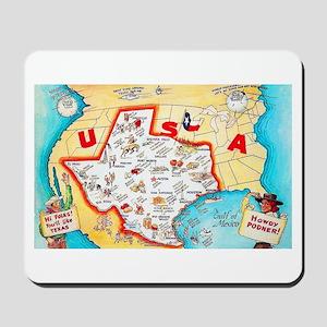 Texas Map Greetings Mousepad