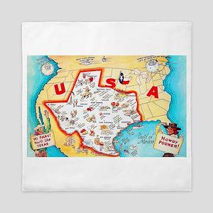 Texas Map Greetings Queen Duvet