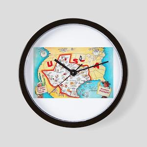 Texas Map Greetings Wall Clock