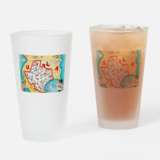 Texas Map Greetings Drinking Glass