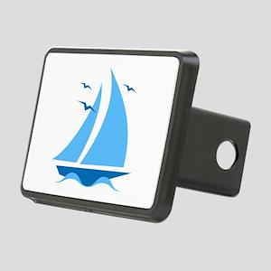 Blue Sailboat Rectangular Hitch Cover