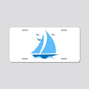 Blue Sailboat Aluminum License Plate
