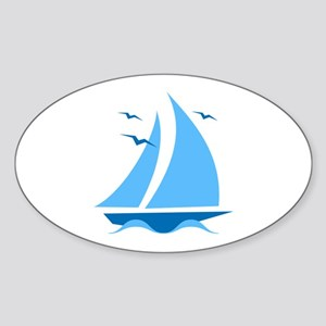 Blue Sailboat Sticker (Oval)