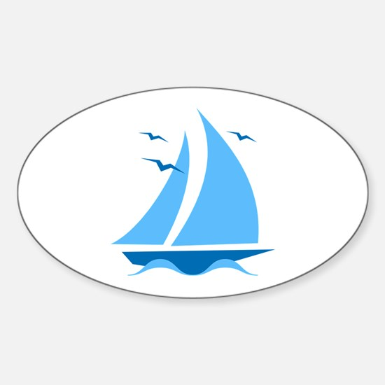 Blue Sailboat Sticker (Oval)