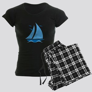 Blue Sailboat Women's Dark Pajamas