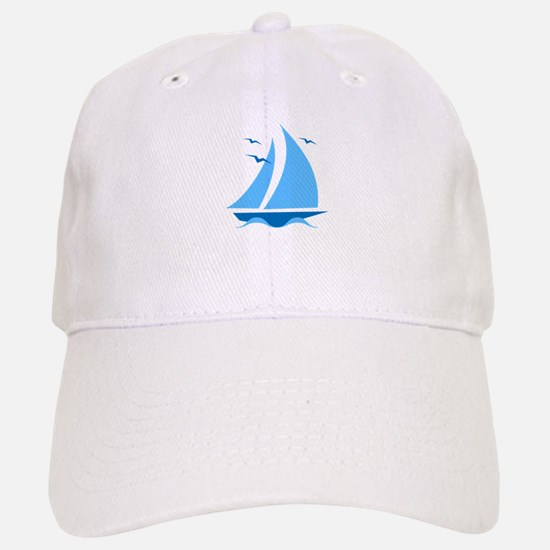 Blue Sailboat Baseball Baseball Cap